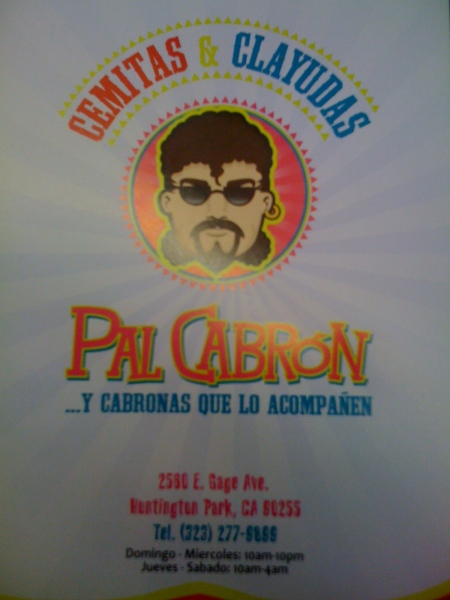 Pal Cabron Menu